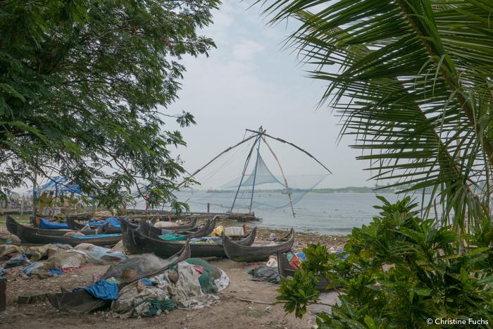 Carrelet chinois à Cochin pour pêcher